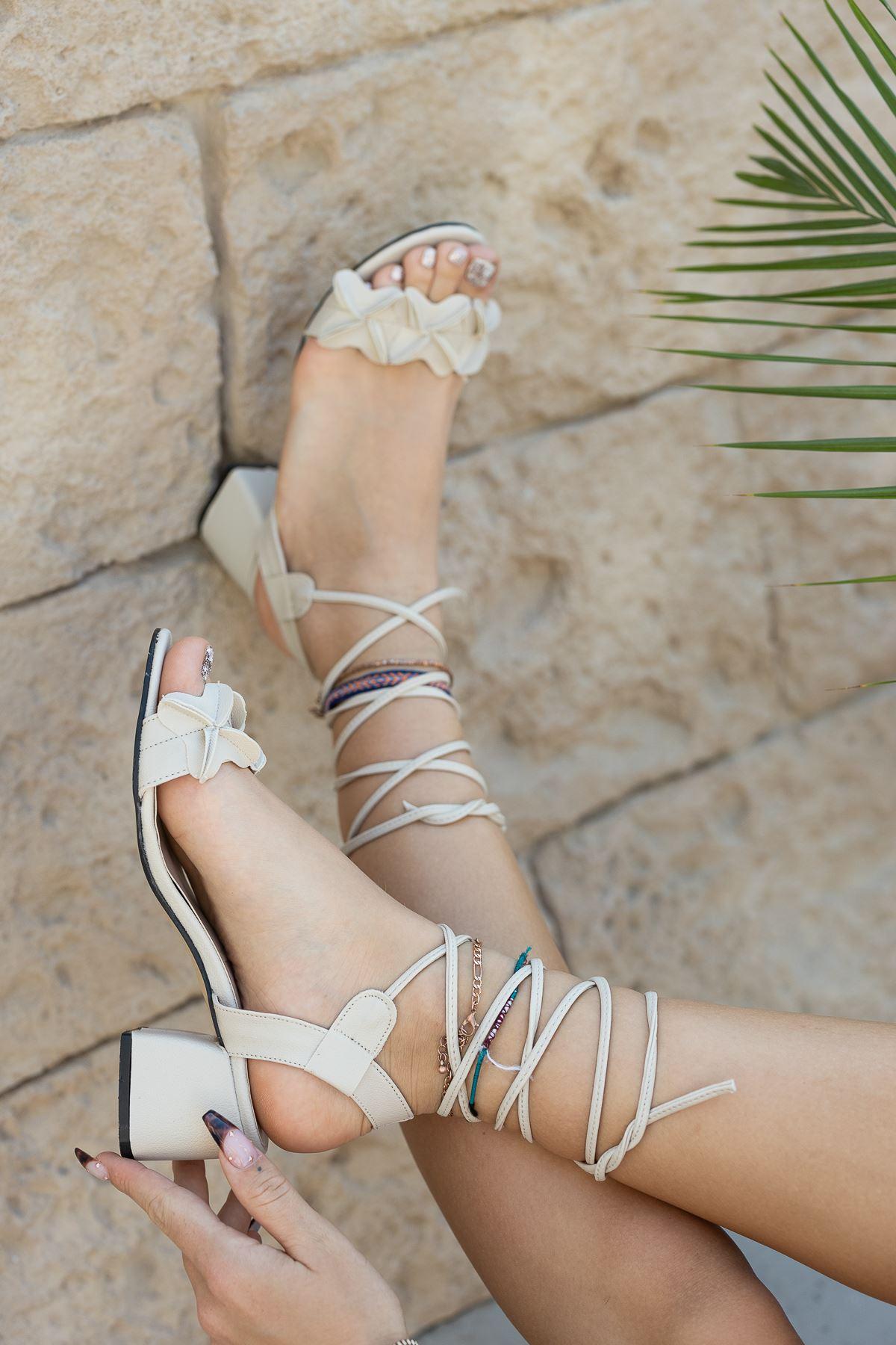 Kadın Juliet Mat Deri Nude Topuklu Ayakkabı