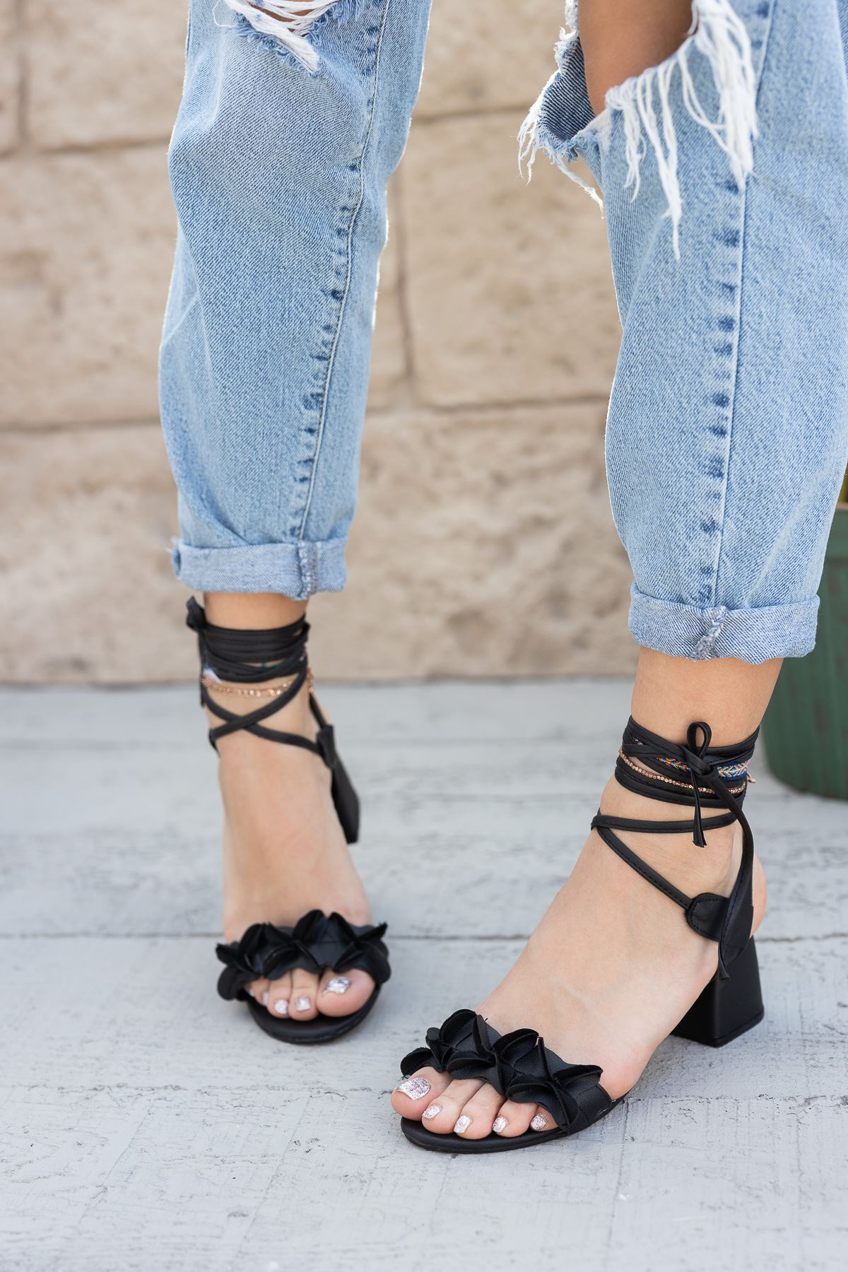 Kadın Juliet Mat Deri Siyah Topuklu Ayakkabı