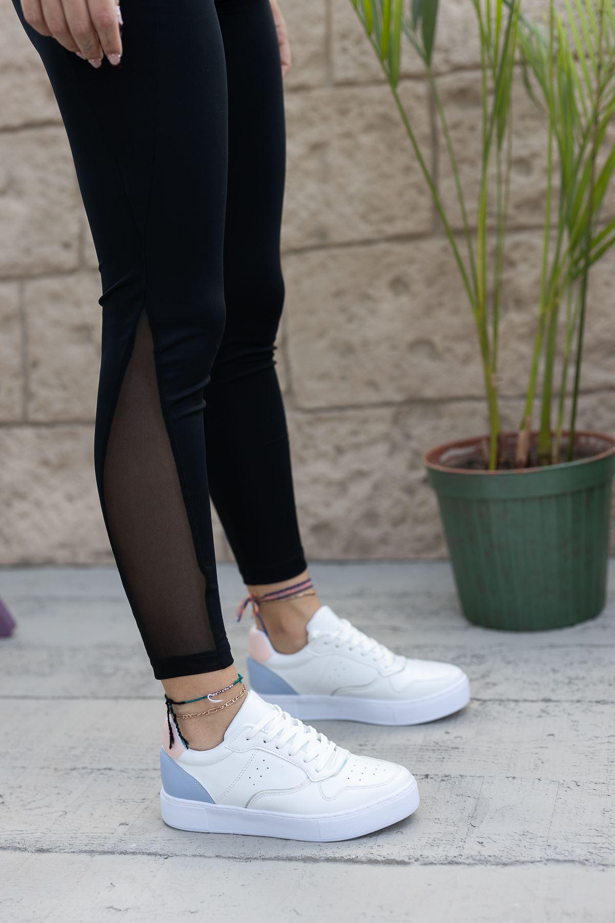 Kadın Ramy Mavi Detaylı Beyaz Spor Ayakkabı