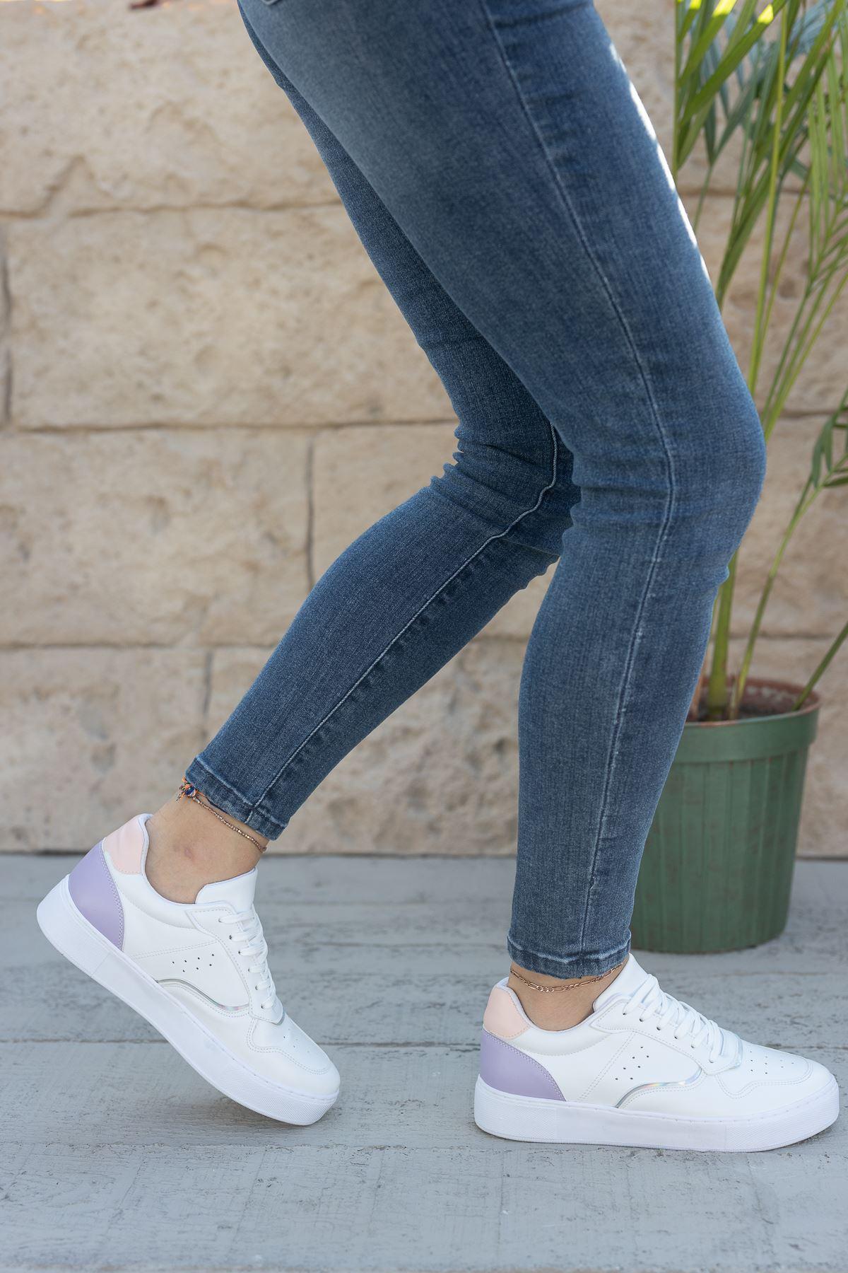 Kadın Ramy Lila Detaylı Beyaz Spor Ayakkabı