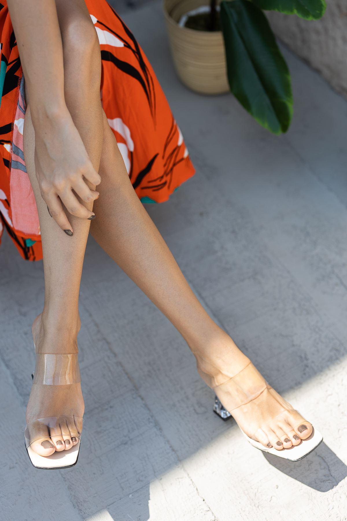 Kadın Osena Şeffaf  Topuklu Ten Terlik
