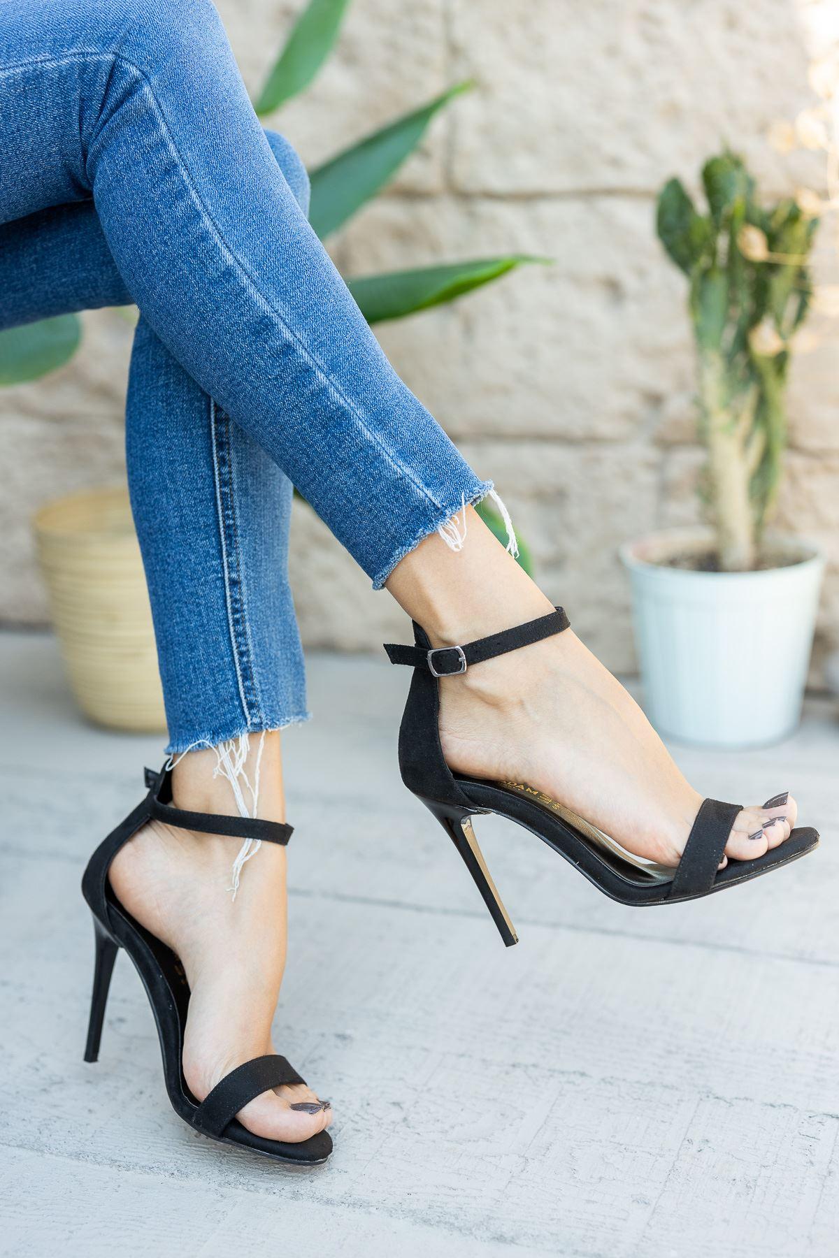 Kadın Aloha Siyah Süet İnce Topuklu Ayakkabı