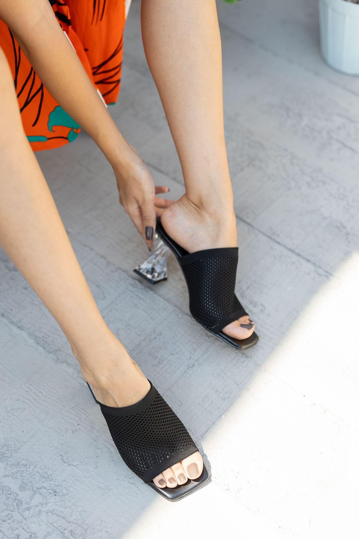 Kadın Veronica Şeffaf Topuklu Siyah Triko Terlik