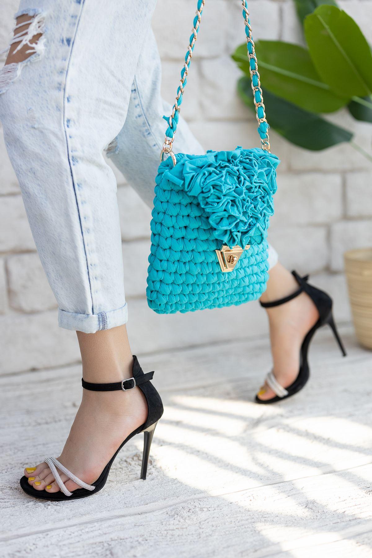Kadın Areto Siyah Süet  Taş Detaylı Topuklu Ayakkabı