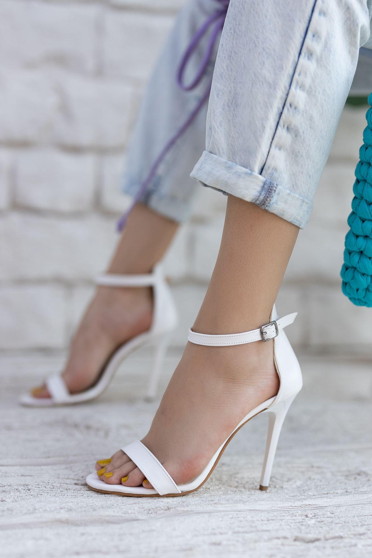 Kadın Aloha Beyaz Mat Deri İnce Topuklu Ayakkabı