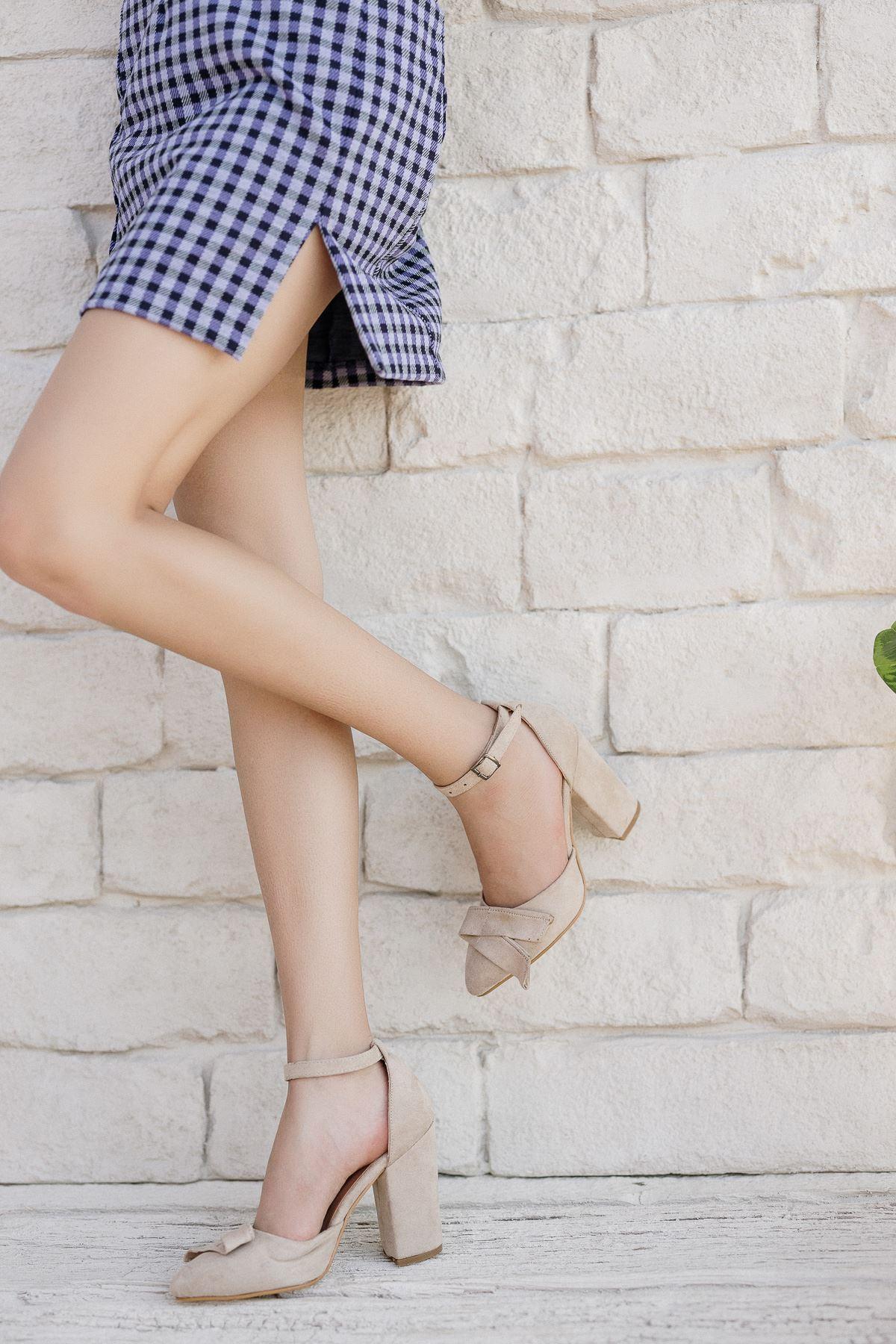 Kadın Cines Kalın Topuklu Yüksek Topuklu Vizon Süet Ayakkabı Sivri Burun