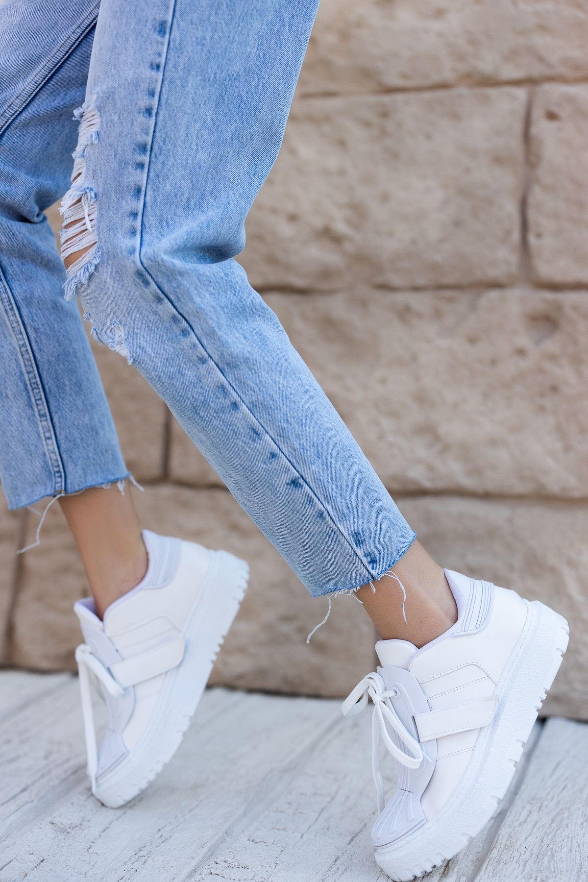 Kadın Dimore Düz Beyaz Kalın Taban  Spor Ayakkabı