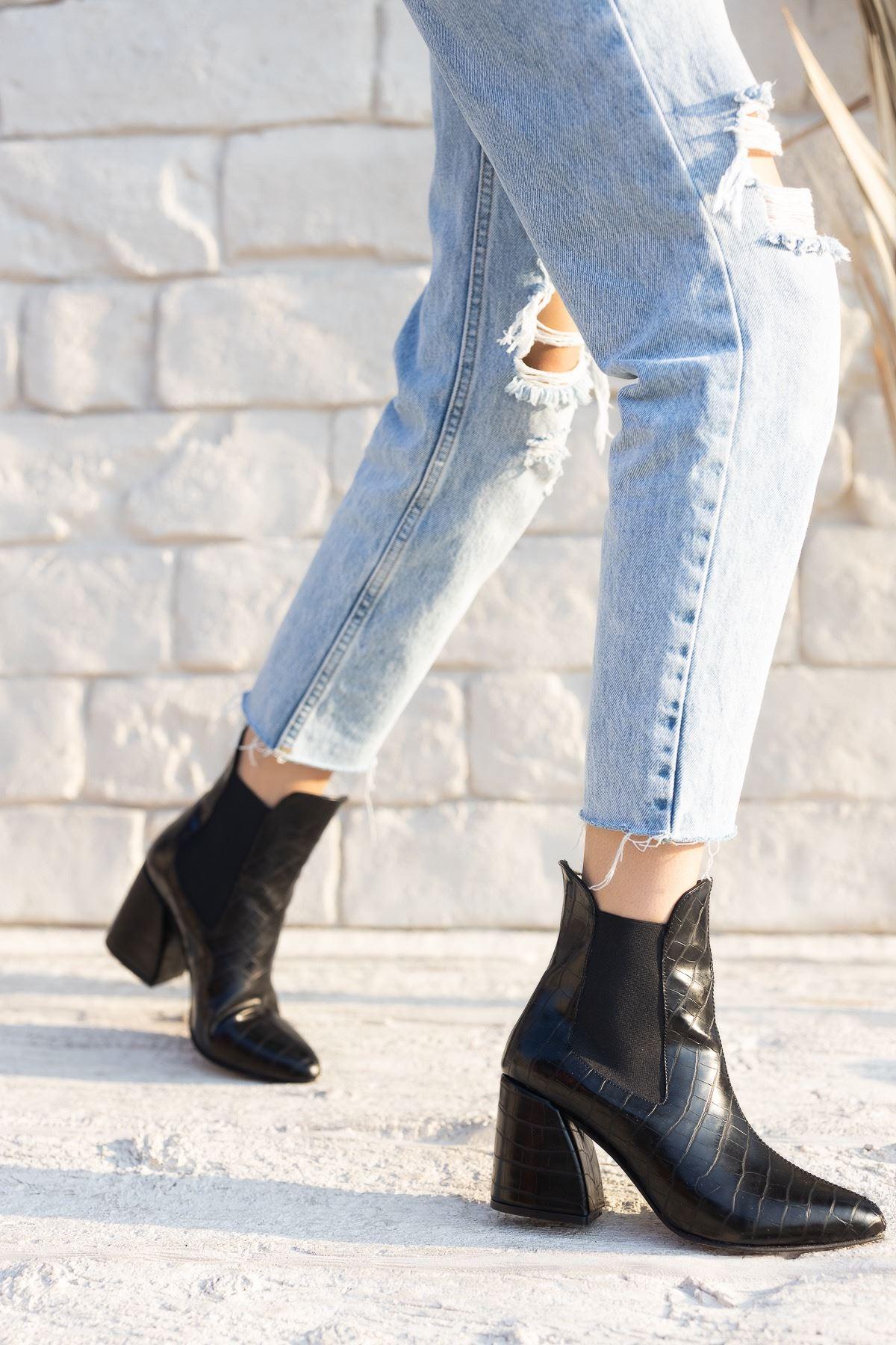 Kadın Lucy Kalın Topuklu Mat Deri Kroko Siyah Bot