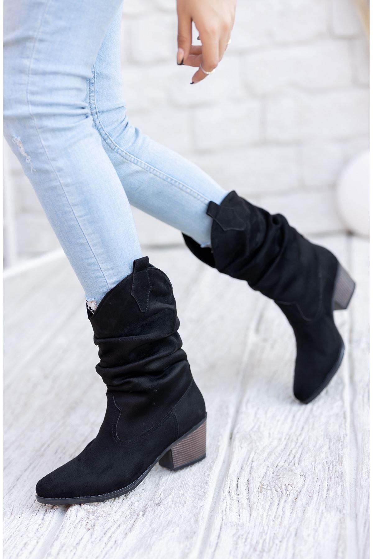 Kadın Hector Körük Detay Kısa Topuk Kovboy Siyah Süet Çizme