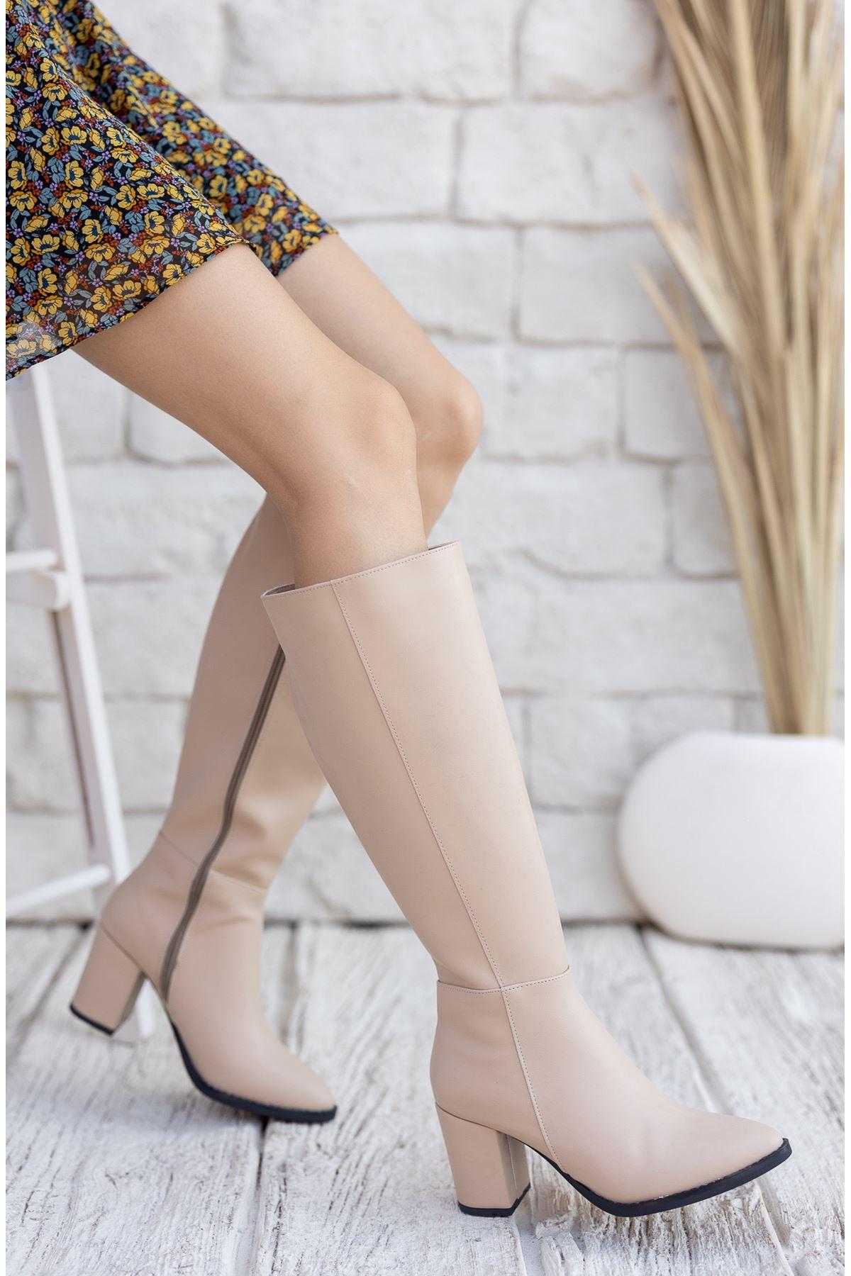 Kadın Josefa Kısa Topuklu Nude Mat Deri Çizme