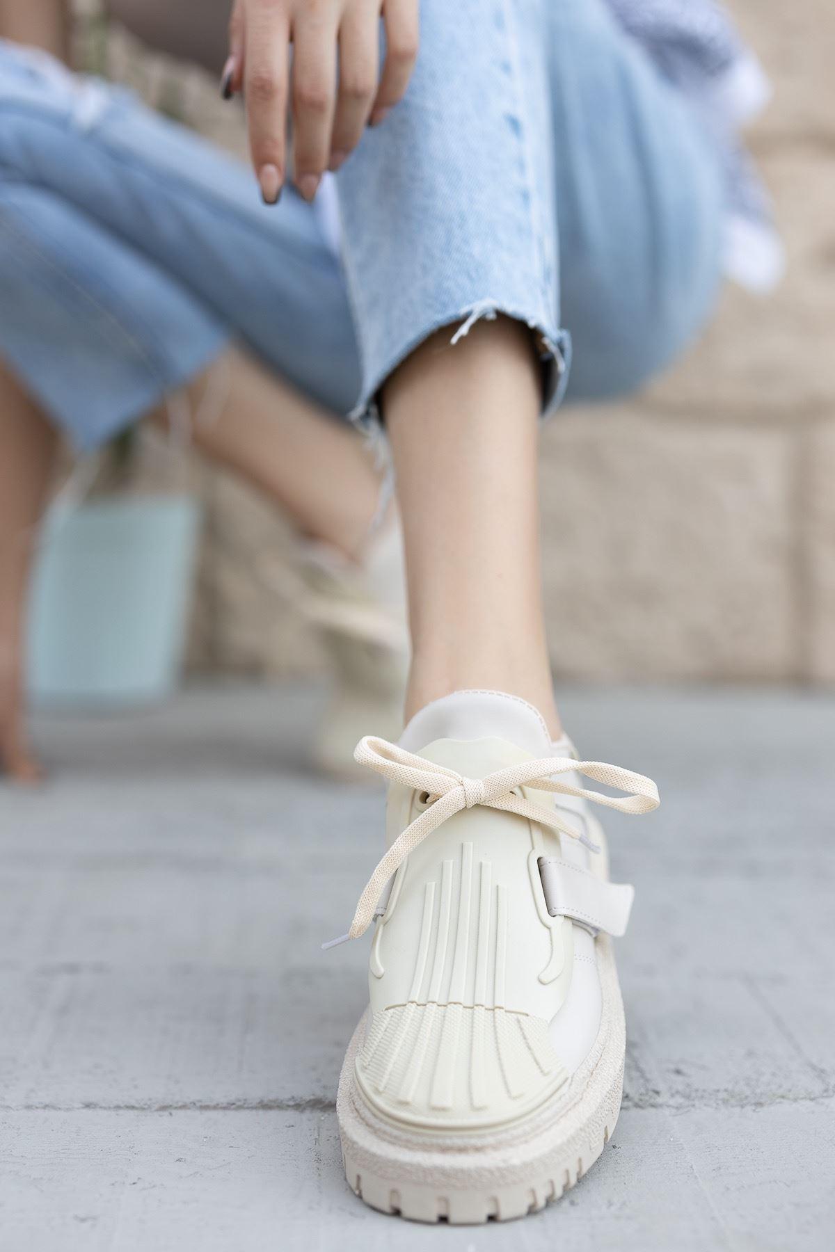 Kadın Dimore Düz Nude Kalın Taban  Spor Ayakkabı