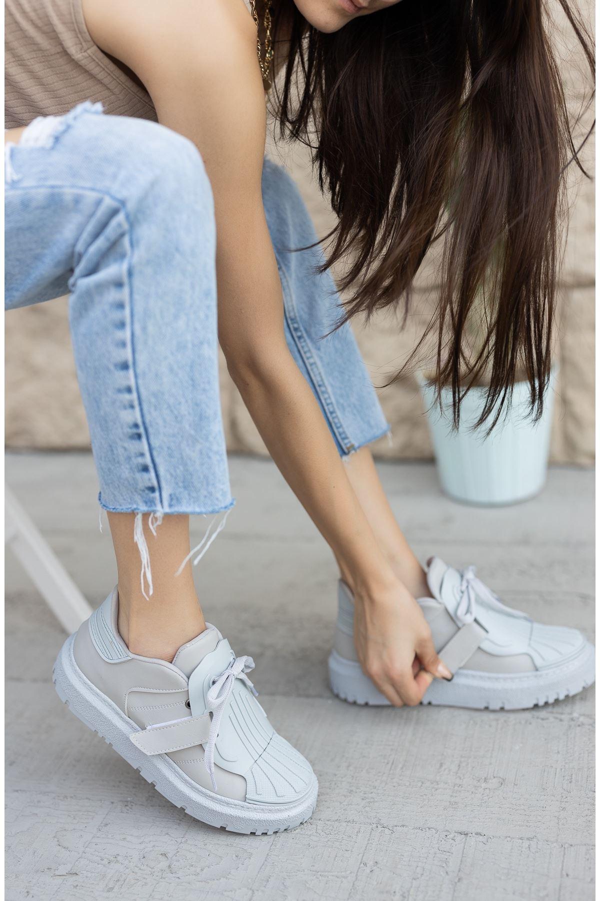 Kadın Dimore Düz Gri Kalın Taban  Spor Ayakkabı