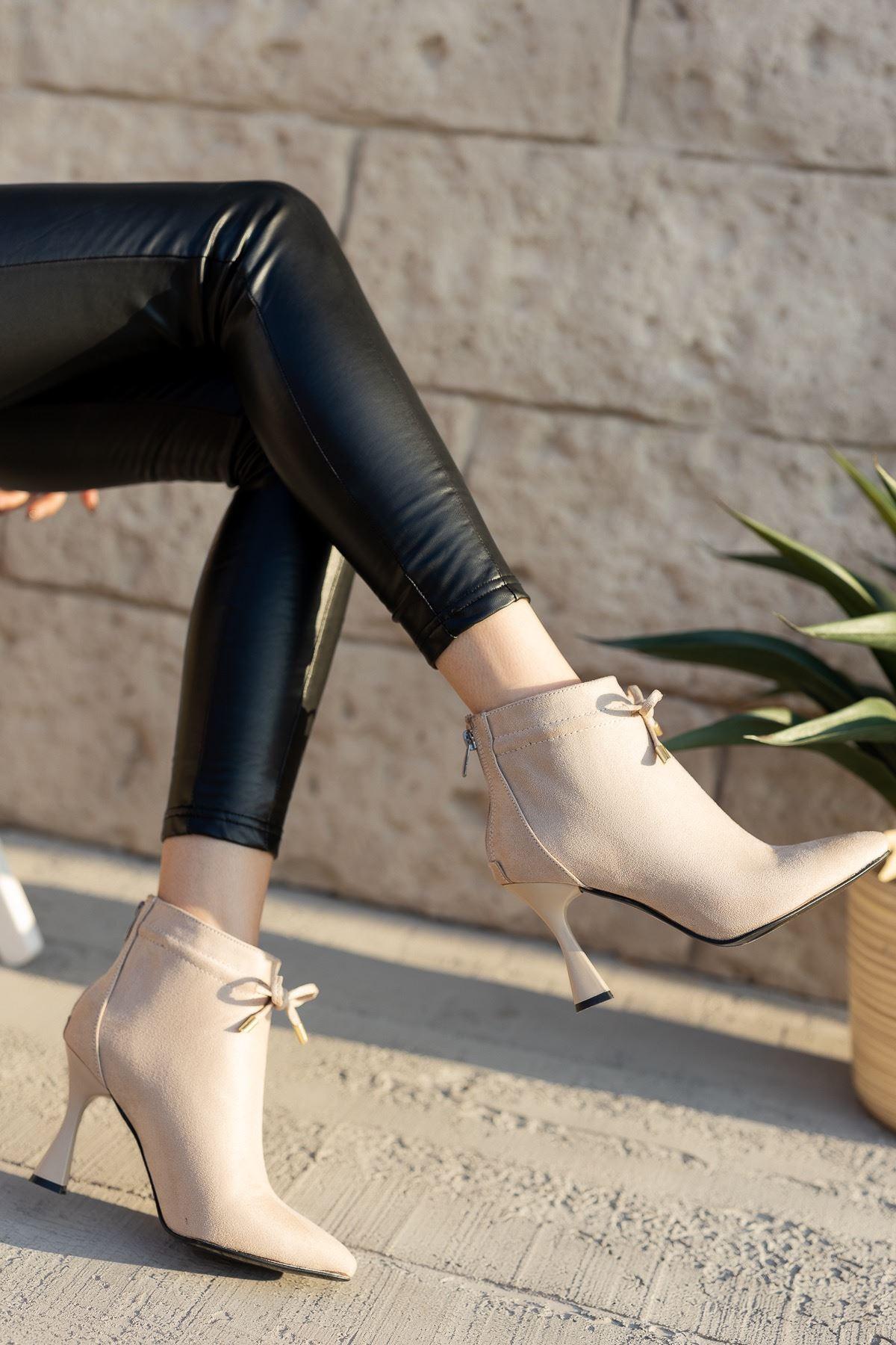 Kadın Minke Yüksek Kadeh Topuklu Ten Süet Bot