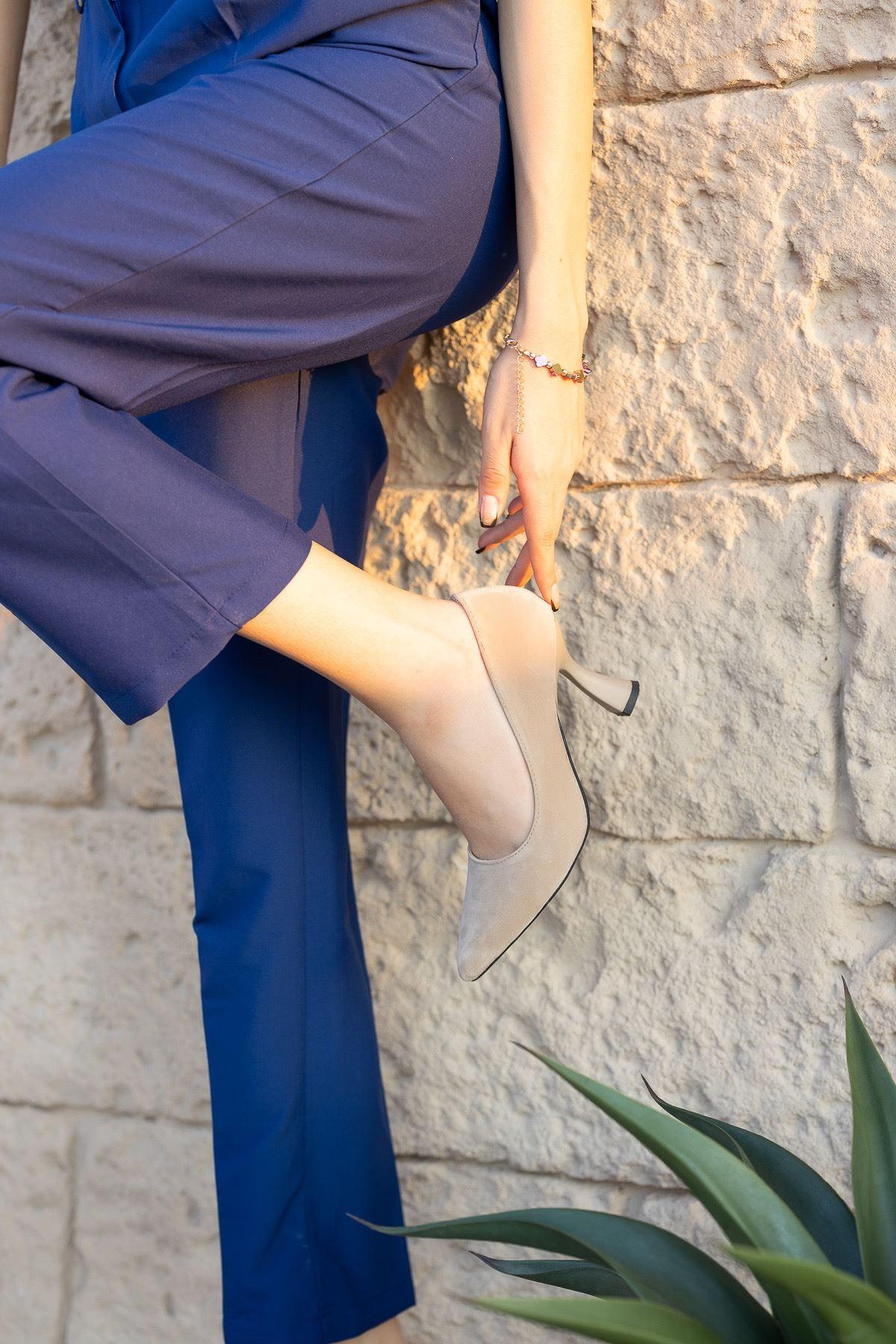 Kadın Jane Kadeh Topuk Detaylı  Ten Süet Stiletto