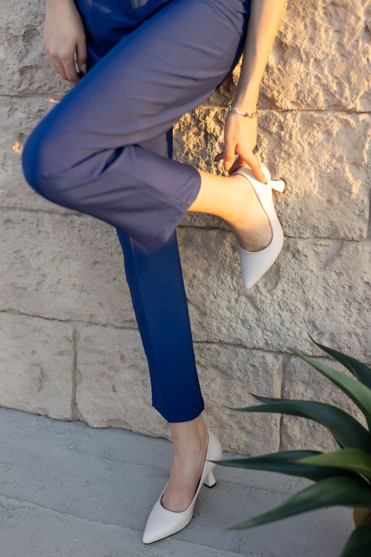 Kadın Jane Kadeh Topuk Detaylı Mat Deri Ten Stiletto