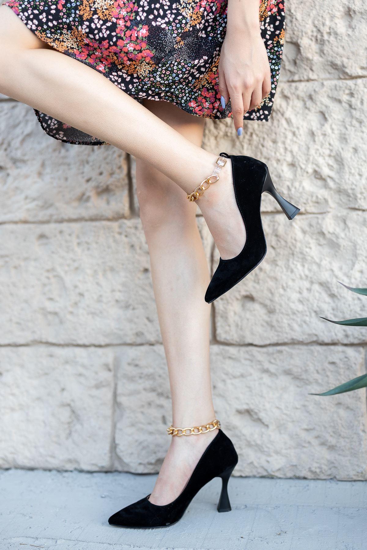 Kadın Drew Kadeh Topuklu Zincir Detaylı Siyah Süet Stiletto
