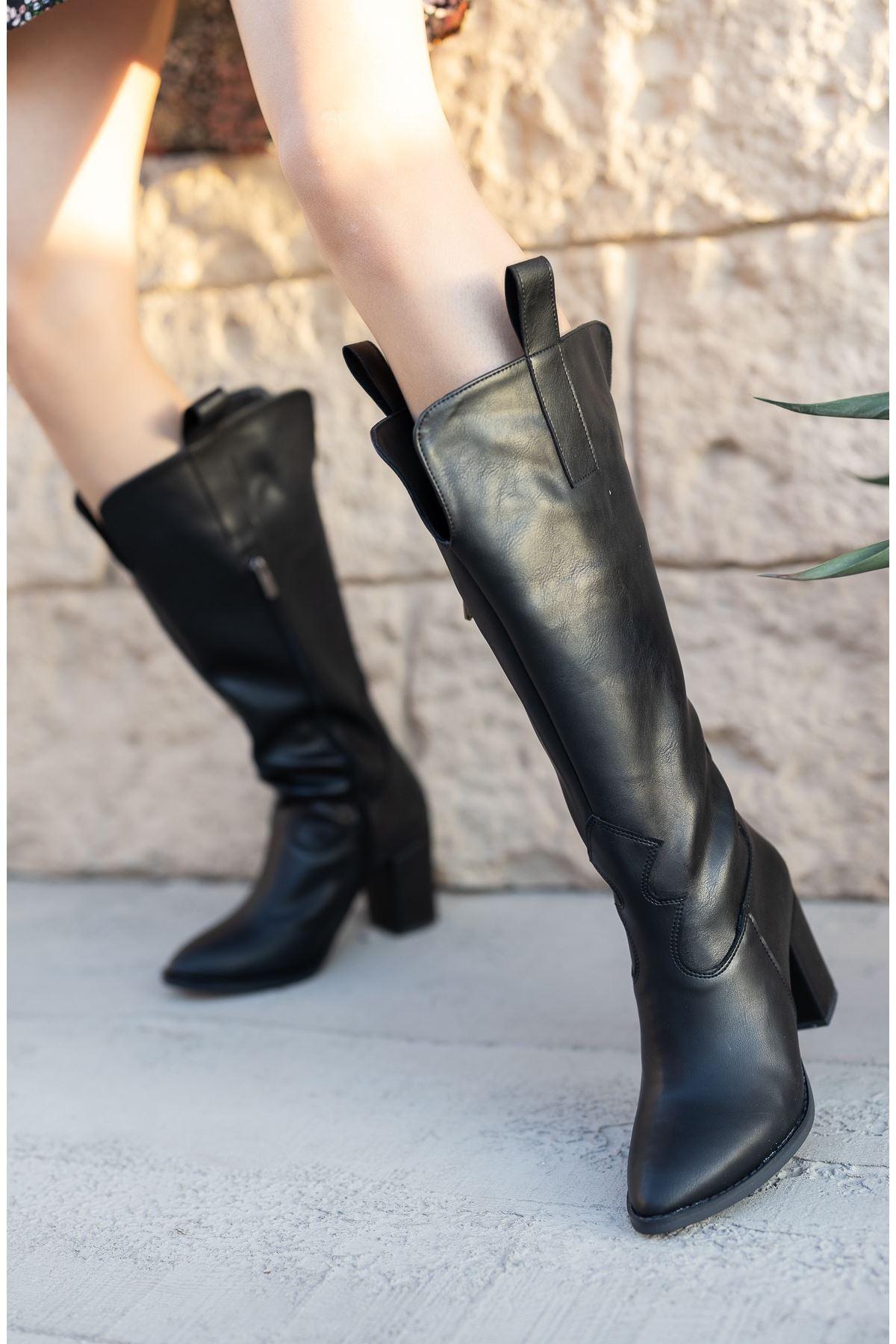 Kadın Jona Kısa Topuklu Siyah Kovboy Mat Deri Çizme