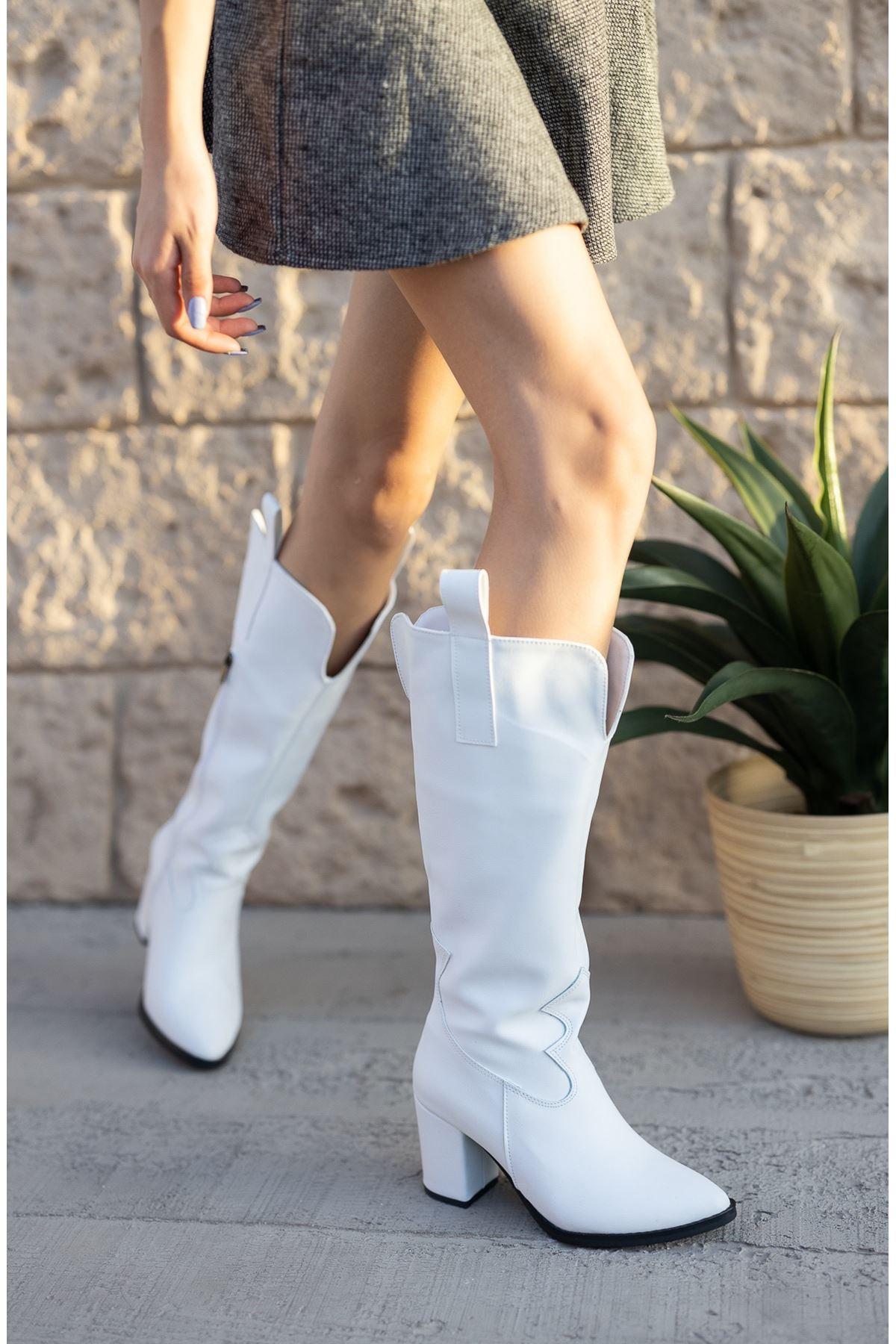 Kadın Jona Kısa Topuklu Beyaz Kovboy Mat Deri Çizme