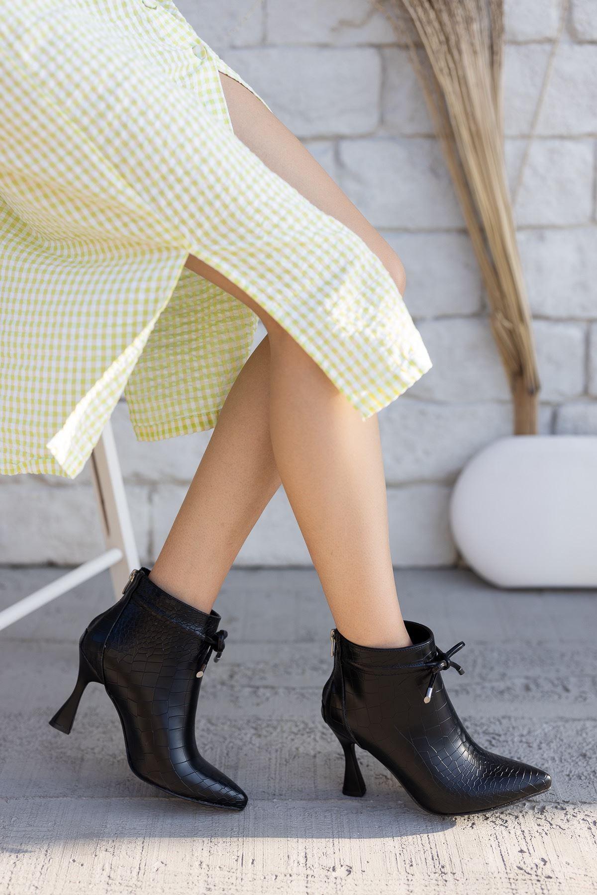 Kadın Minke Yüksek Kadeh Topuklu Kroko Siyah Bot