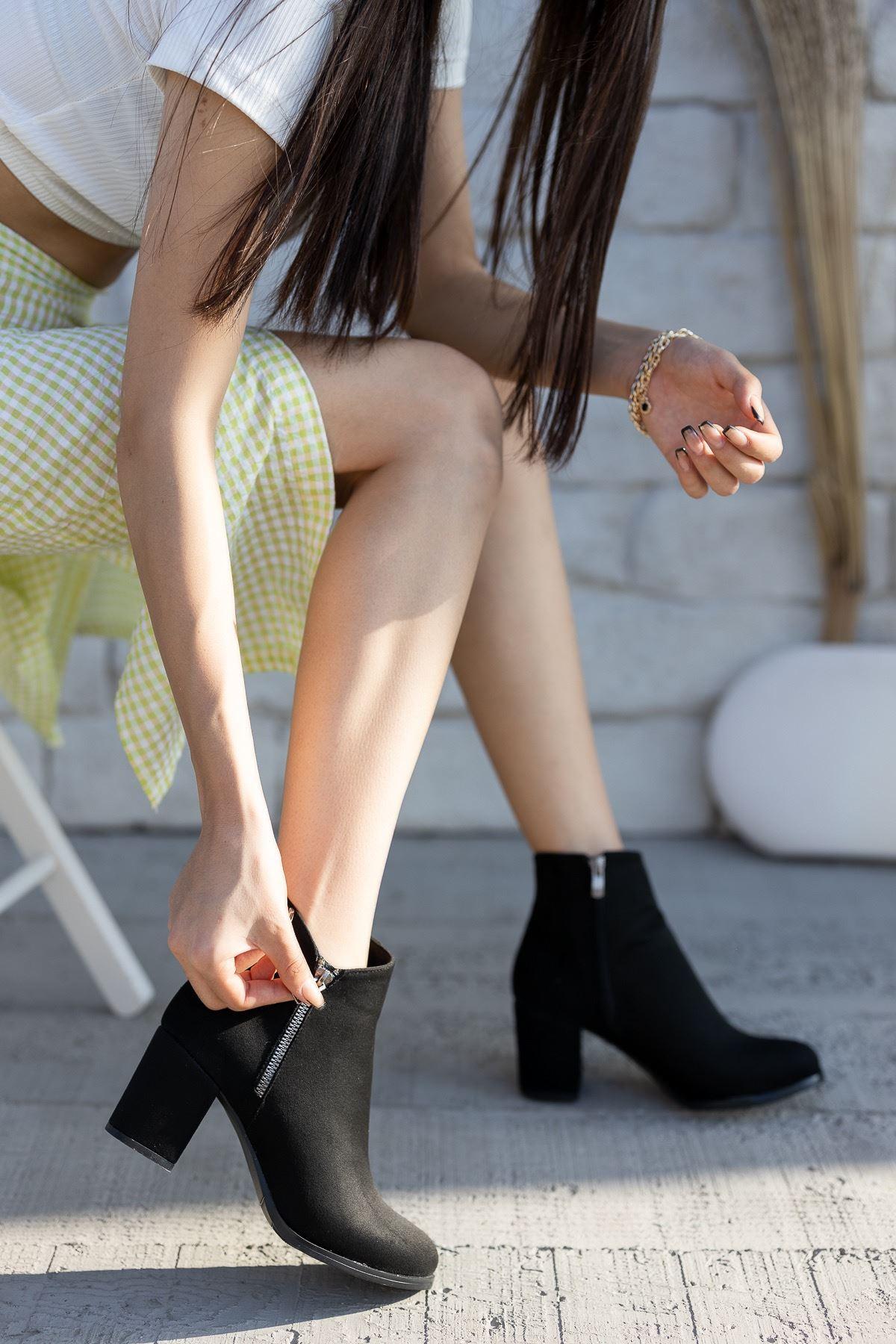 Kadın Treysi Fermuar Detay Siyah Süet Bot