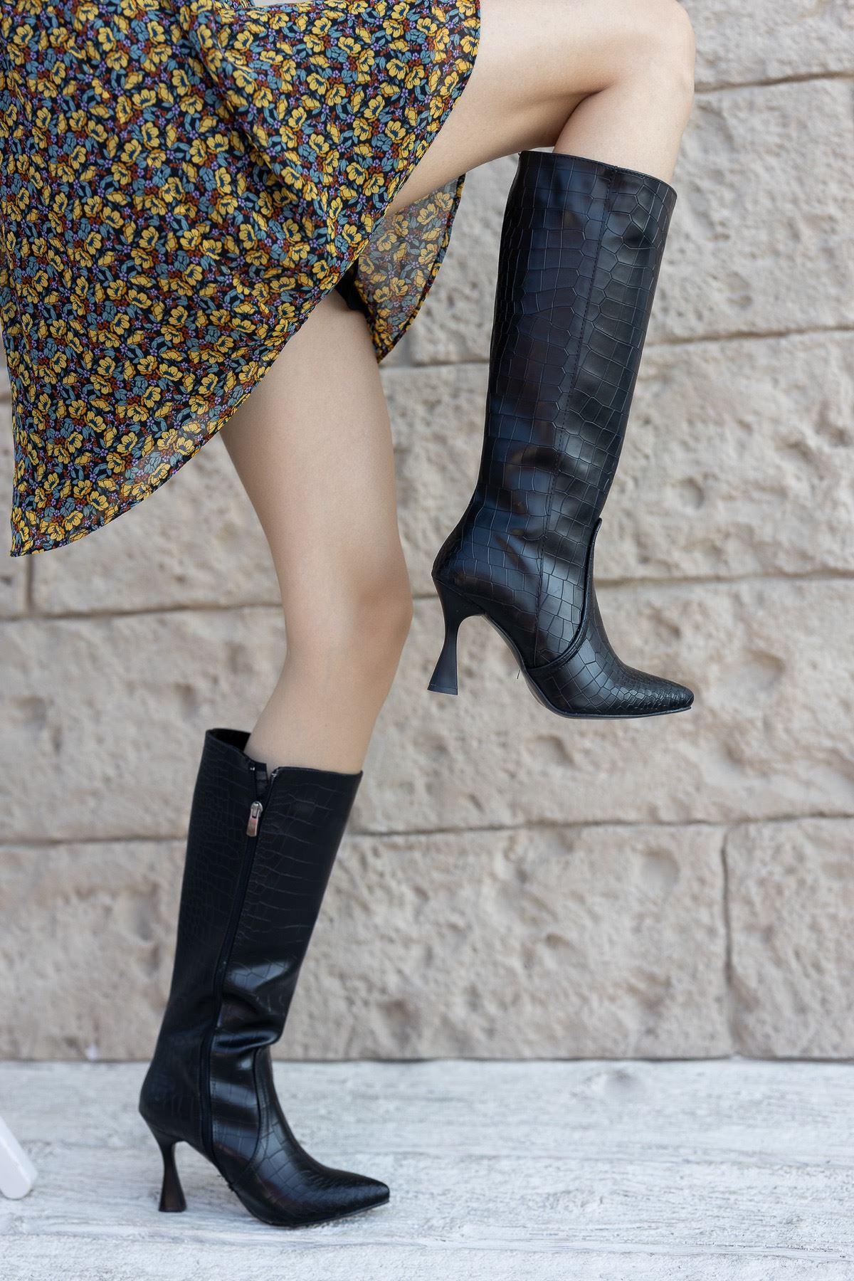 Kadın Fonte Diz Altı Mat Deri Siyah Kroko Çizme