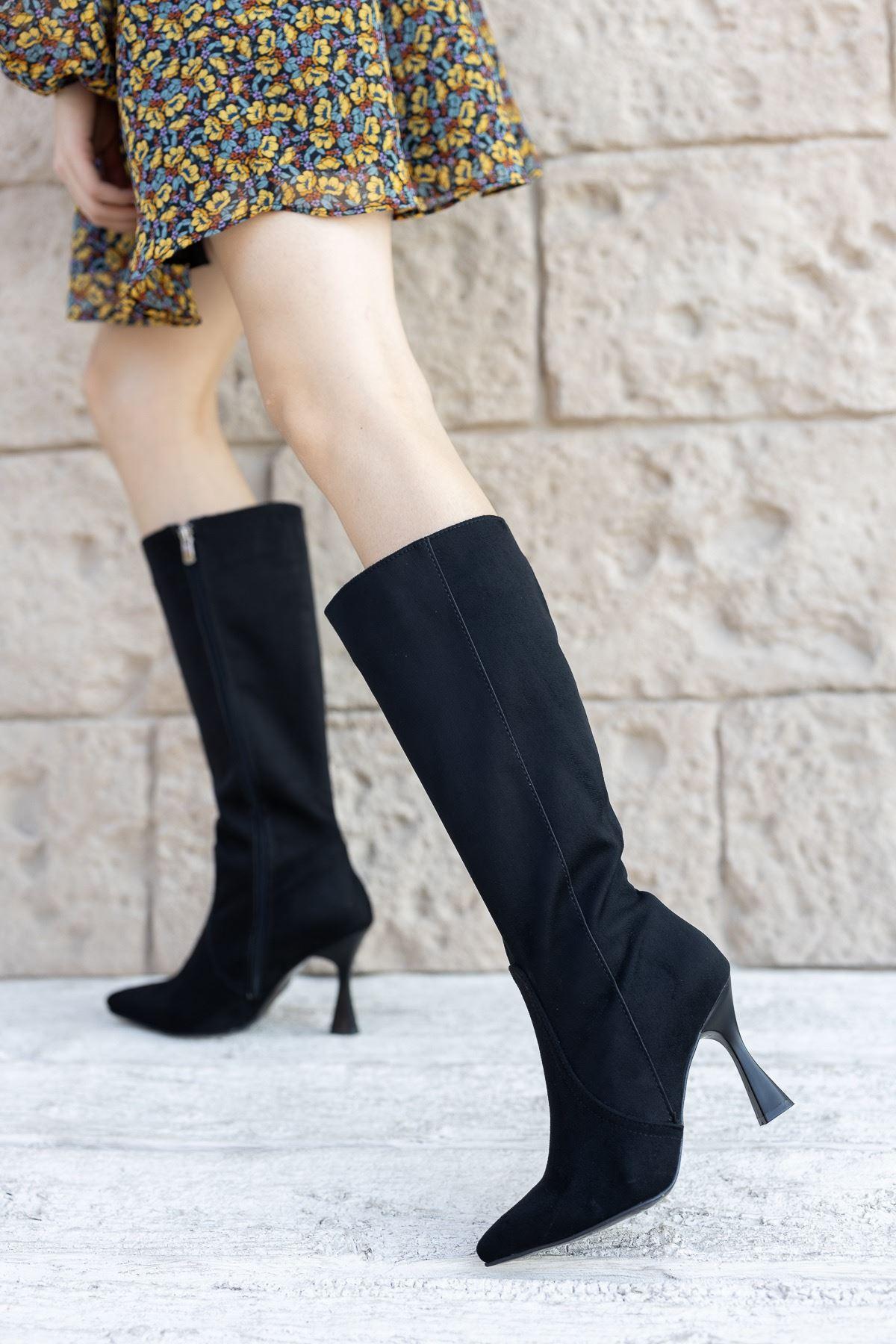 Kadın Fonte Diz Altı Siyah Süet İnce Topuklu Çizme