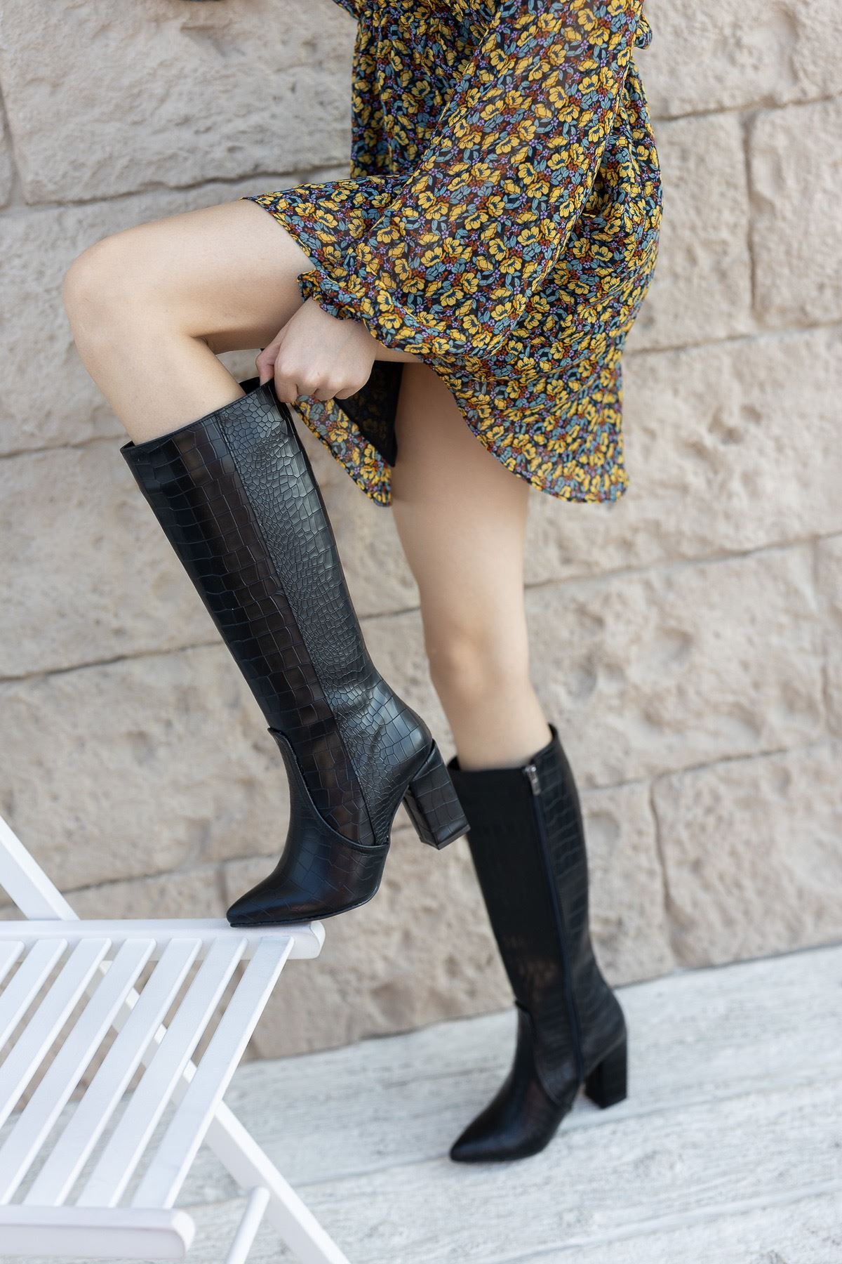 Kadın Fabio Diz Altı Deri Siyah Kroko Çizme