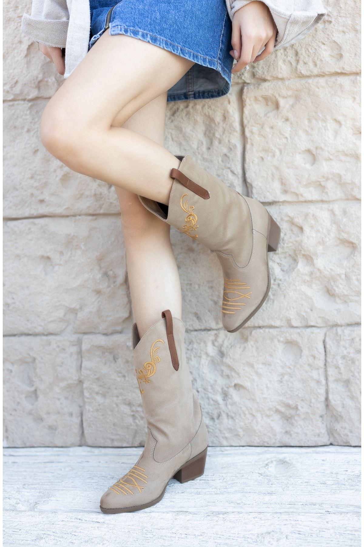 Kadın Owen Nakış Detay Kısa Topuk Kovboy Ten Süet Çizme