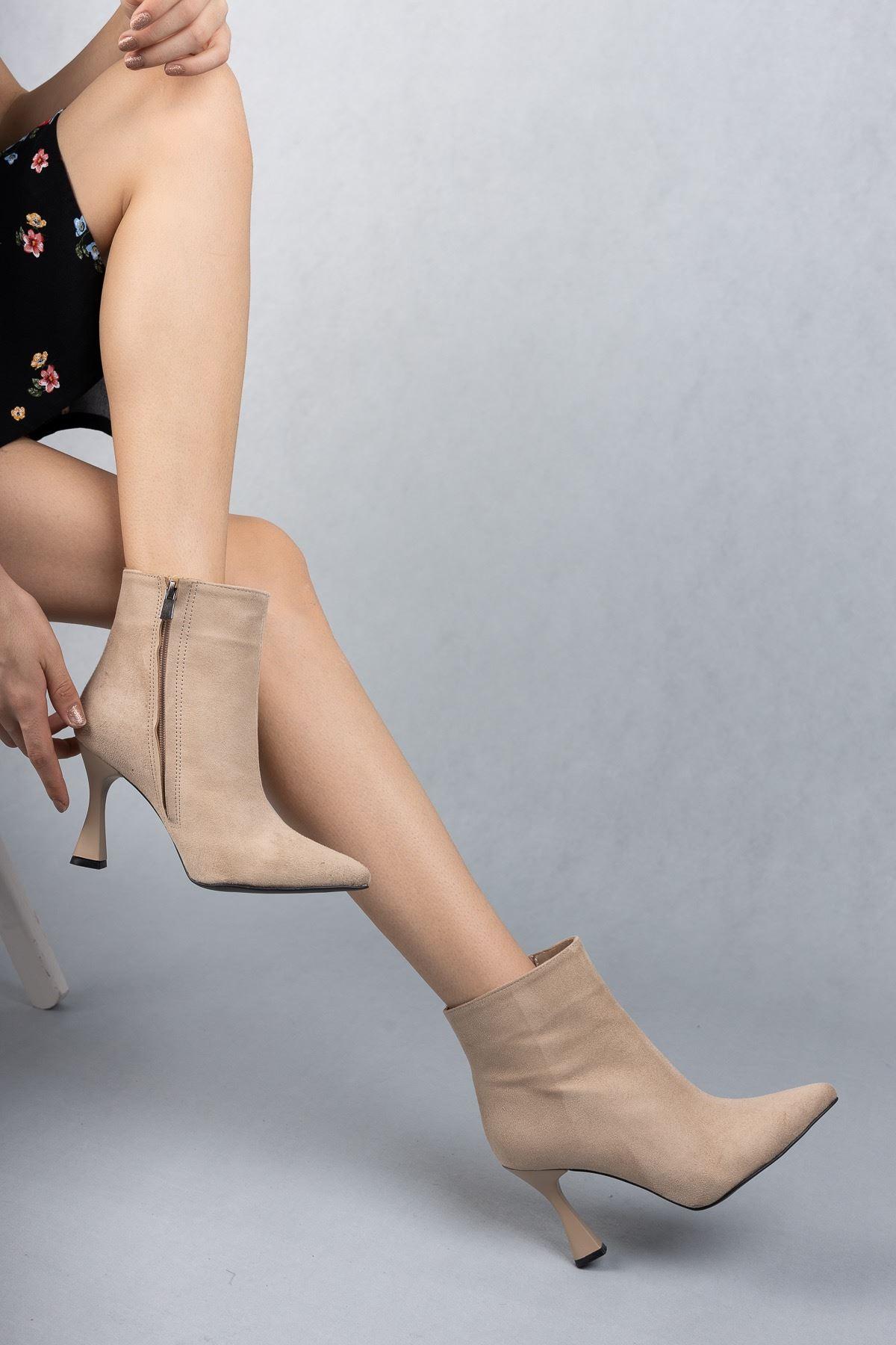 Kadın Beti Yüksek Topuklu Ten Süet Bot