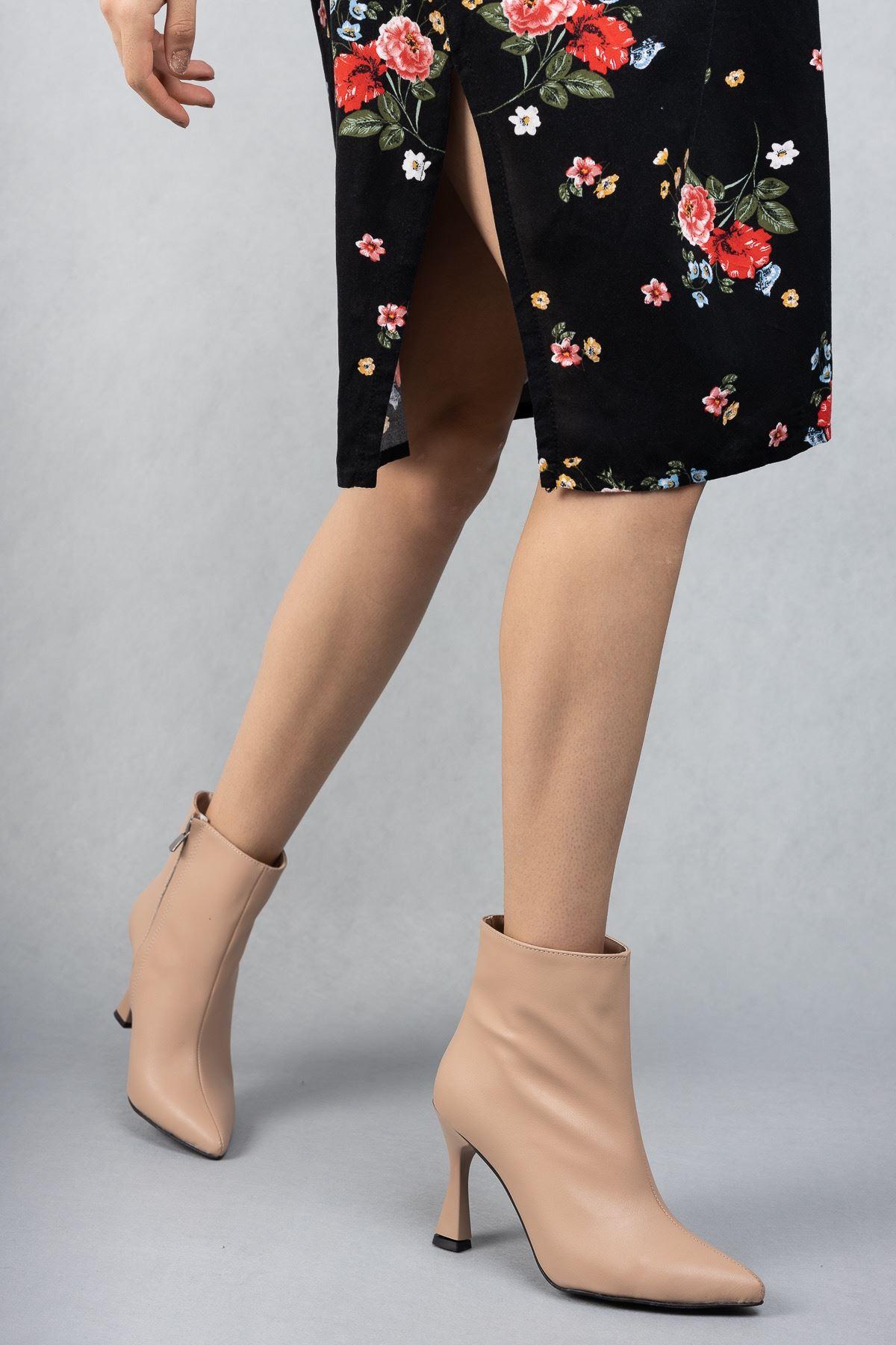 Kadın Beti Yüksek Topuklu Ten Mat Deri Bot