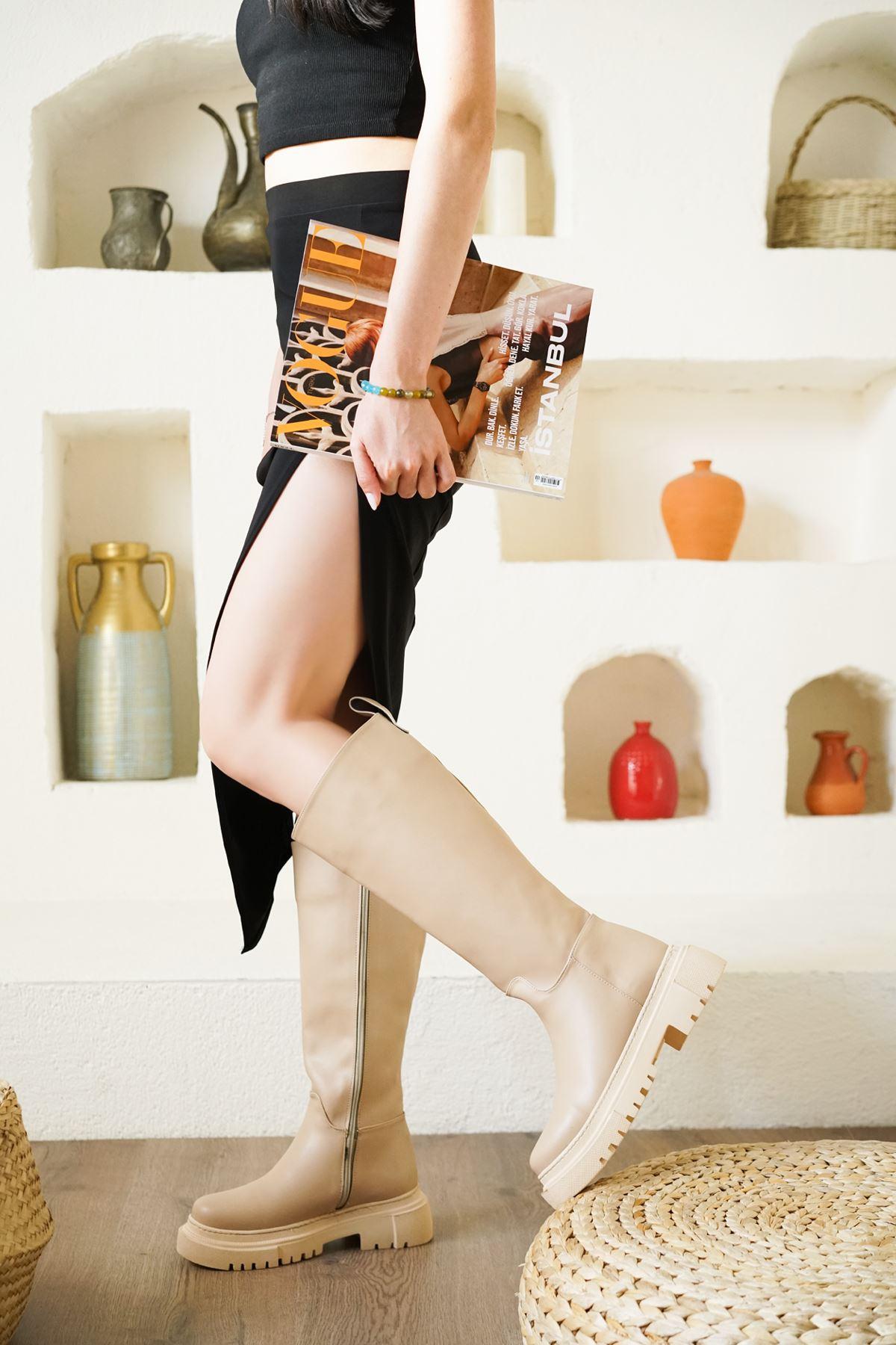 Kadın Kimber Kalın Taban Diz Altı Mat Deri Nude Çekme Çizme