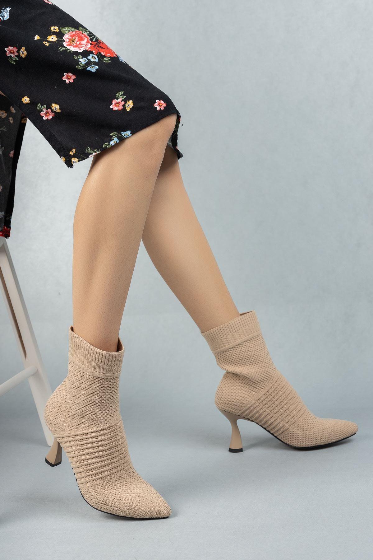Kadın Belen Ten Triko İnce Topuklu Bot