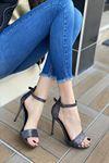 Kadın Anta Simli  Topuklu Ayakkabı