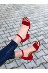 Kadın Lord Kırmızı Süet Topuklu Ayakkabı