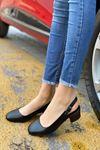 Kadın Merine Siyah Deri Kısa Topuklu Ayakkabı