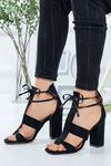 Kadın Okaliptus Siyah Süet Topuklu Ayakkabı