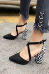 Kadın Lanus Siyah Süet Topuklu Ayakkabı