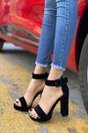 Kadın Margaret Süet Topuklu Ayakkabı Siyah