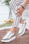 Kadın Tetis Gümüş Detay Spor Ayakkabı Beyaz
