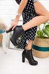 Kadın Monica Plarform Taban Mat Deri Siyah Bot