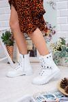 Kadın Kenji Pim Detay Tırtıklı Taban Mat Deri Beyaz Bot