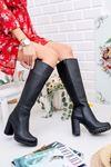 Kadın Maria Mat Deri Diz Altı Siyah Çizme