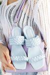 Kadın Elisa Örgülü Kısa Topuklu Bebe Mavi Terlik