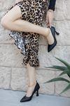 Kadın Drew Kadeh Topuklu Zincir Detaylı Mat Deri Siyah Stiletto