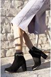 Kadın Gorgi Toka Detaylı Siyah Süet Topuklu Bot